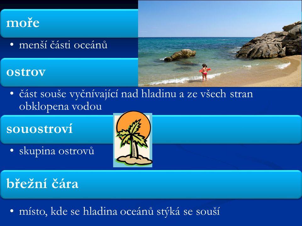 pobřeží pruh území kolem břežní čáry záliv výběžek oceánu do pevniny poloostrov výběžek pevniny do oceánu průliv část oceánu oddělující pevniny nebo pevninu a ostrov