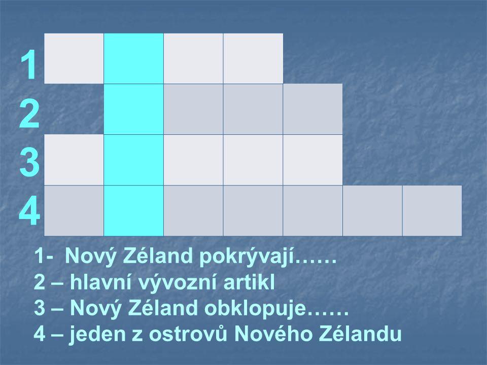 12341234 1- Nový Zéland pokrývají…… 2 – hlavní vývozní artikl 3 – Nový Zéland obklopuje…… 4 – jeden z ostrovů Nového Zélandu