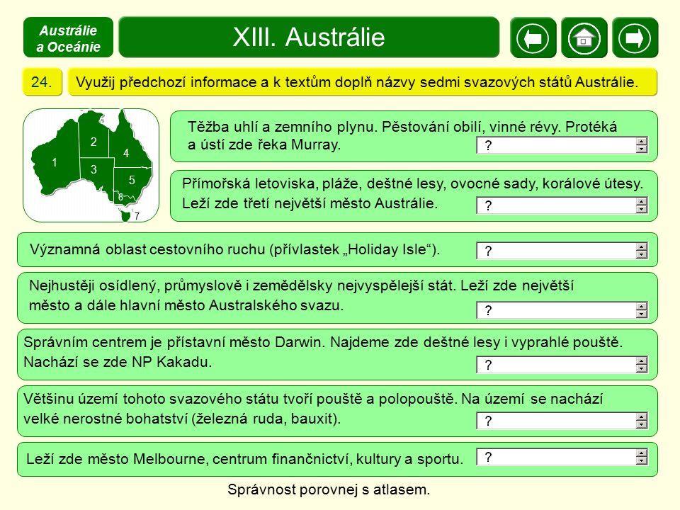 XIII. Austrálie Využij předchozí informace a k textům doplň názvy sedmi svazových států Austrálie.24. 1 3 2 4 5 6 7 Nejhustěji osídlený, průmyslově i