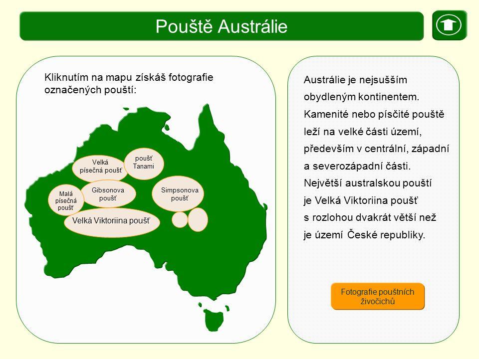 X. Zajímavosti Pouště Austrálie Austrálie je nejsušším obydleným kontinentem. Kamenité nebo písčité pouště leží na velké části území, především v cent