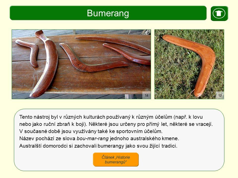 X. Zajímavosti Bumerang Tento nástroj byl v různých kulturách používaný k různým účelům (např. k lovu nebo jako ruční zbraň k boji). Některé jsou urče
