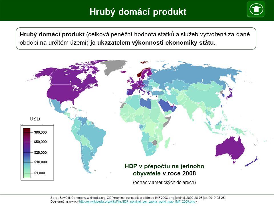 Hrubý domácí produkt HDP v přepočtu na jednoho obyvatele v roce 2008 (odhad v amerických dolarech) USD Zdroj: Sbw01f. Commons.wikimedia.org: GDP nomin