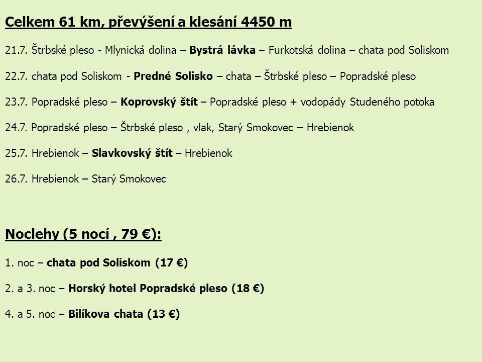 Celkem 61 km, převýšení a klesání 4450 m 21.7. Štrbské pleso - Mlynická dolina – Bystrá lávka – Furkotská dolina – chata pod Soliskom 22.7. chata pod