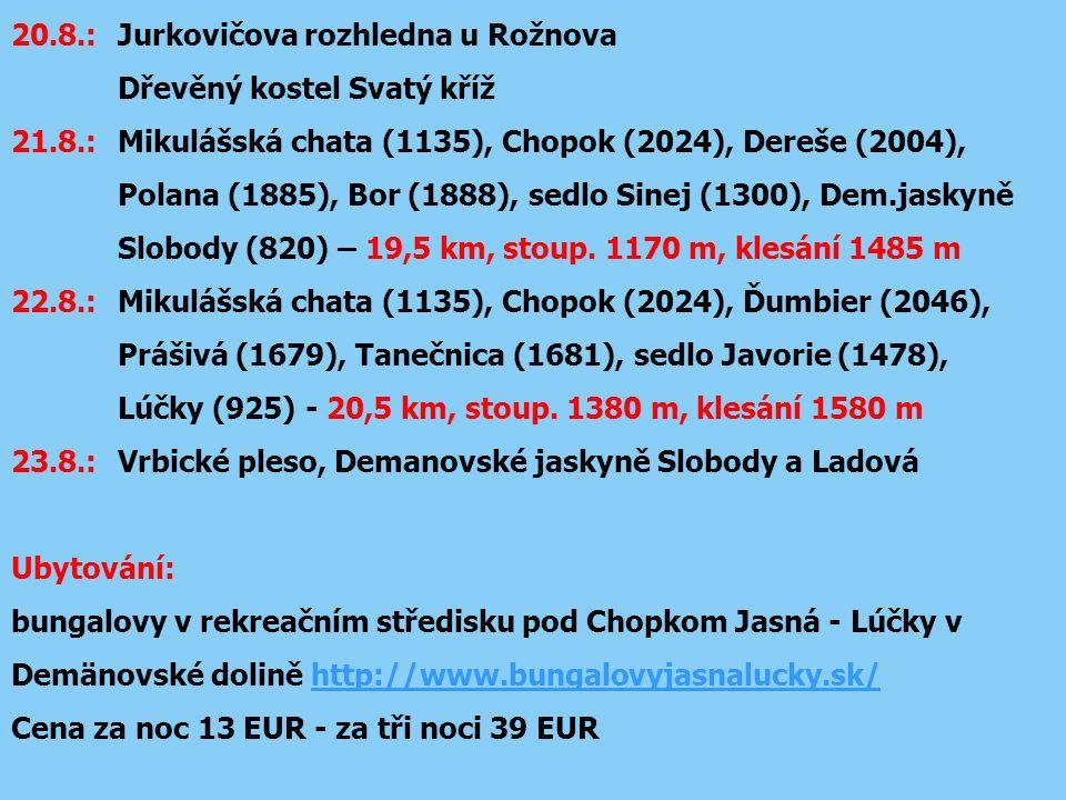 20.8.: Jurkovičova rozhledna u Rožnova Dřevěný kostel Svatý kříž 21.8.:Mikulášská chata (1135), Chopok (2024), Dereše (2004), Polana (1885), Bor (1888