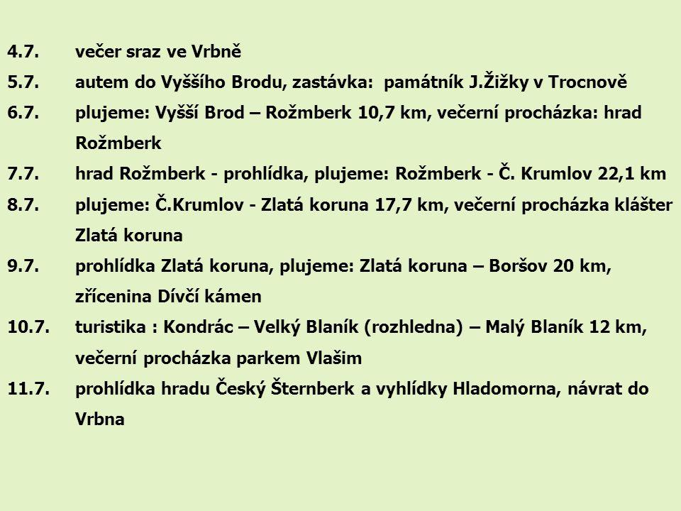 4.7. večer sraz ve Vrbně 5.7. autem do Vyššího Brodu, zastávka: památník J.Žižky v Trocnově 6.7. plujeme: Vyšší Brod – Rožmberk 10,7 km, večerní proch