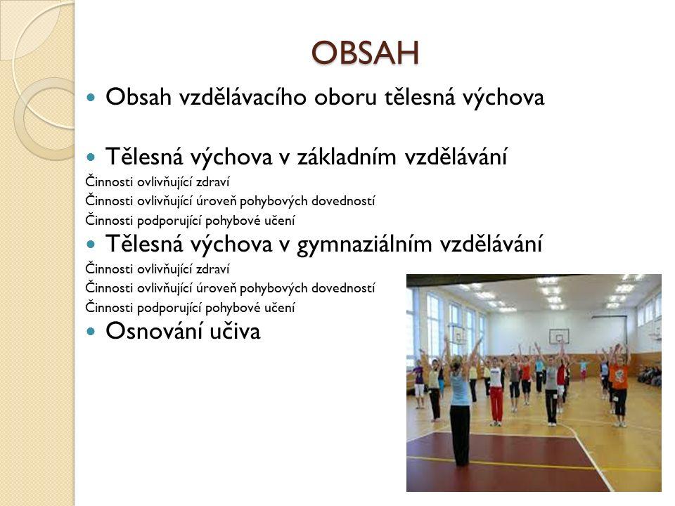 OBSAH Obsah vzdělávacího oboru tělesná výchova Tělesná výchova v základním vzdělávání Činnosti ovlivňující zdraví Činnosti ovlivňující úroveň pohybový