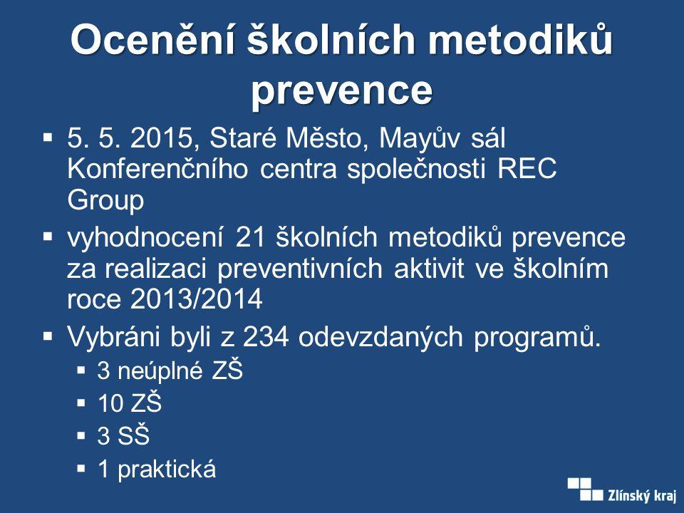 Ocenění školních metodiků prevence  5. 5.