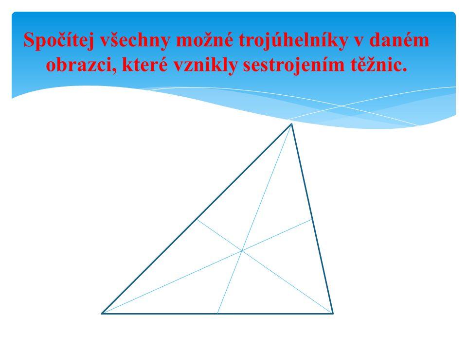 Spočítej všechny možné trojúhelníky v daném obrazci, které vznikly sestrojením těžnic.