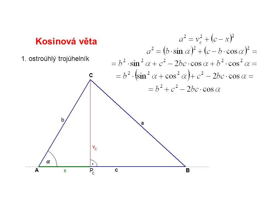 Kosinová věta 1. ostroúhlý trojúhelník