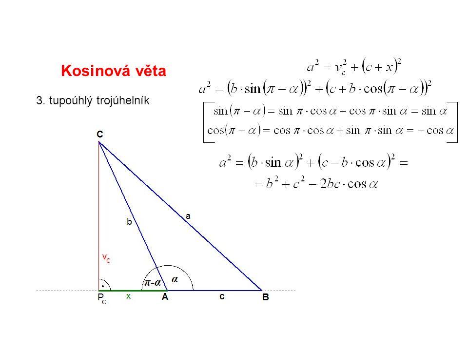 Kosinová věta 3. tupoúhlý trojúhelník