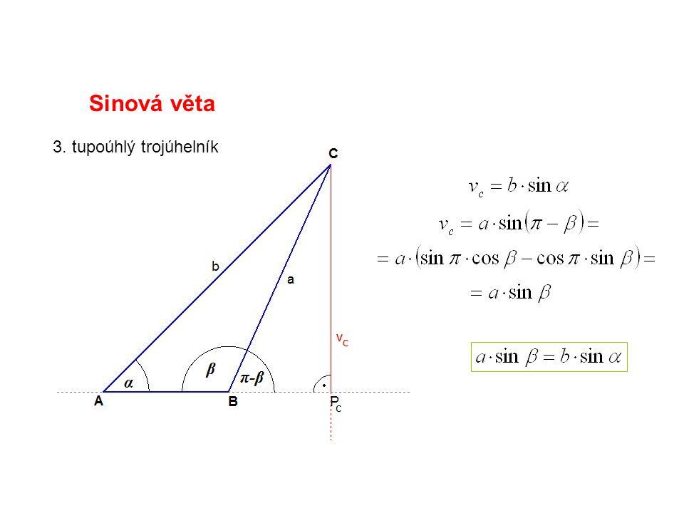 Sinová věta 3. tupoúhlý trojúhelník