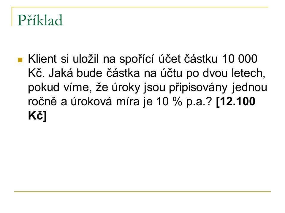 Příklad Klient si uložil na spořící účet částku 10 000 Kč.