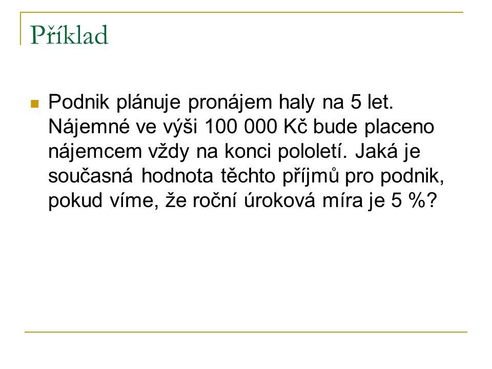 Příklad Podnik plánuje pronájem haly na 5 let.