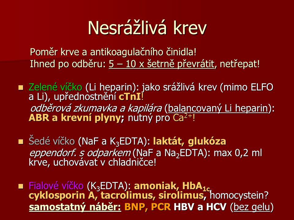 Nesrážlivá krev Poměr krve a antikoagulačního činidla.