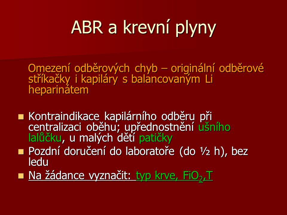 ABR a krevní plyny Omezení odběrových chyb – originální odběrové stříkačky i kapiláry s balancovaným Li heparinátem Omezení odběrových chyb – originál