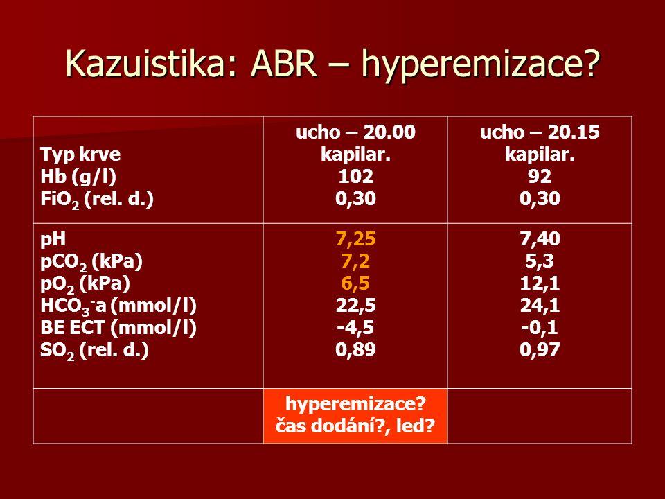 Kazuistika: ABR – hyperemizace.Typ krve Hb (g/l) FiO 2 (rel.