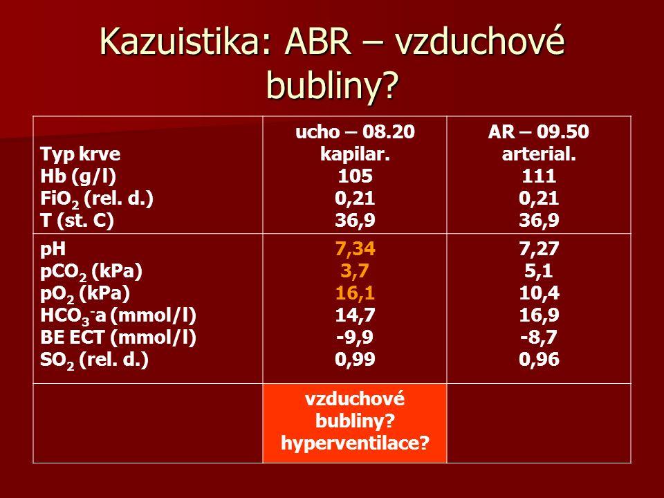 Kazuistika: ABR – vzduchové bubliny? Typ krve Hb (g/l) FiO 2 (rel. d.) T (st. C) ucho – 08.20 kapilar. 105 0,21 36,9 AR – 09.50 arterial. 111 0,21 36,