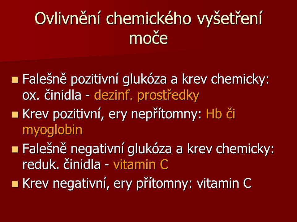 Ovlivnění chemického vyšetření moče Falešně pozitivní glukóza a krev chemicky: ox.