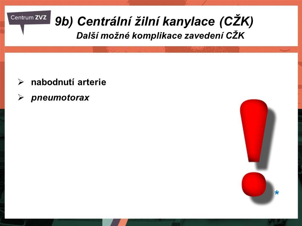  nabodnutí arterie  pneumotorax Další možné komplikace zavedení CŽK 9b) Centrální žilní kanylace (CŽK) *