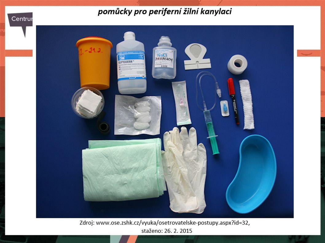  ústenka,  jednorázové rukavice,  sterilní rukavice,  sterilní tampony,  alkoholová dezinfekce,  dezinfekční roztok, (dle standardu ošetřovatelské péče)  sterilní krytí,  náplast,  emitní miska.