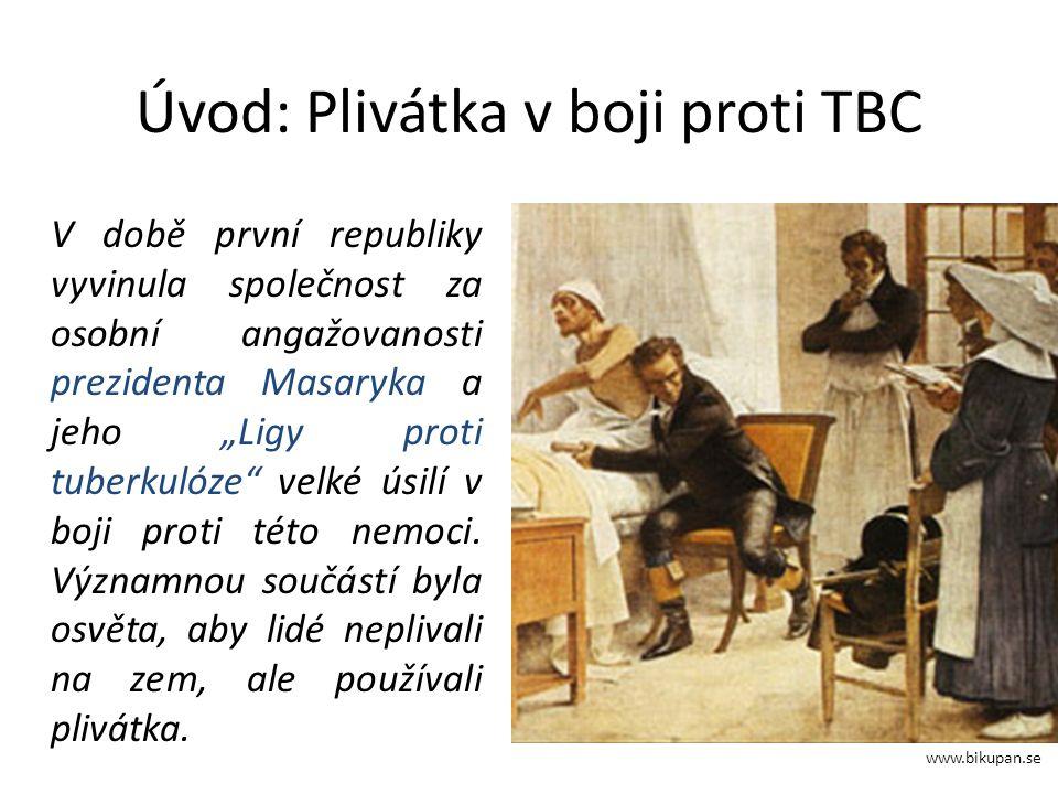 """Úvod: Plivátka v boji proti TBC V době první republiky vyvinula společnost za osobní angažovanosti prezidenta Masaryka a jeho """"Ligy proti tuberkulóze velké úsilí v boji proti této nemoci."""