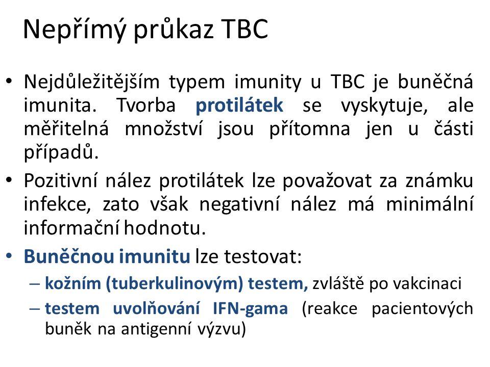 Nepřímý průkaz TBC Nejdůležitějším typem imunity u TBC je buněčná imunita.