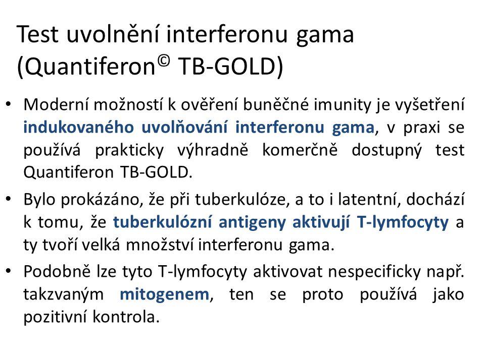 Test uvolnění interferonu gama (Quantiferon © TB-GOLD) Moderní možností k ověření buněčné imunity je vyšetření indukovaného uvolňování interferonu gama, v praxi se používá prakticky výhradně komerčně dostupný test Quantiferon TB-GOLD.