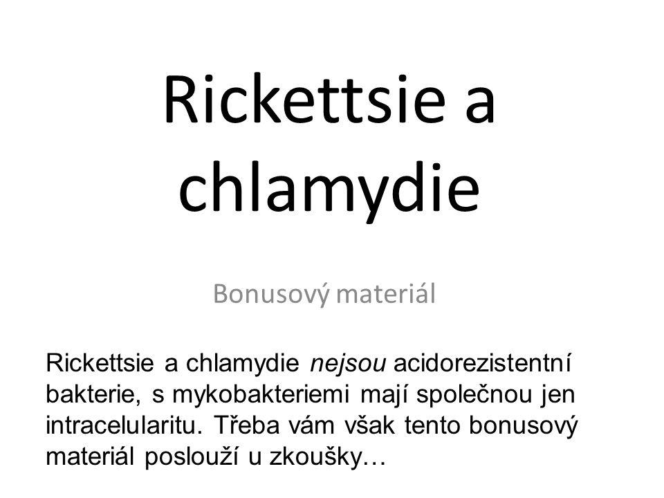 Rickettsie a chlamydie Bonusový materiál Rickettsie a chlamydie nejsou acidorezistentní bakterie, s mykobakteriemi mají společnou jen intracelularitu.