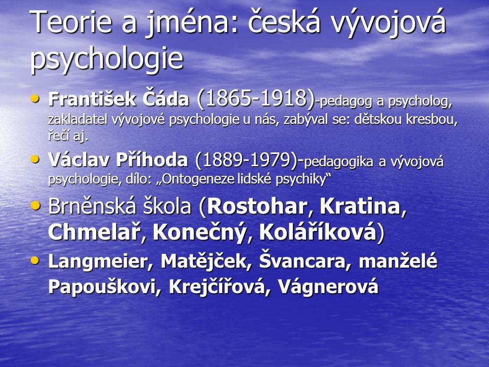 Teorie a jména: česká vývojová psychologie František Čáda (1865-1918) -pedagog a psycholog, zakladatel vývojové psychologie u nás, zabýval se: dětskou kresbou, řečí aj.