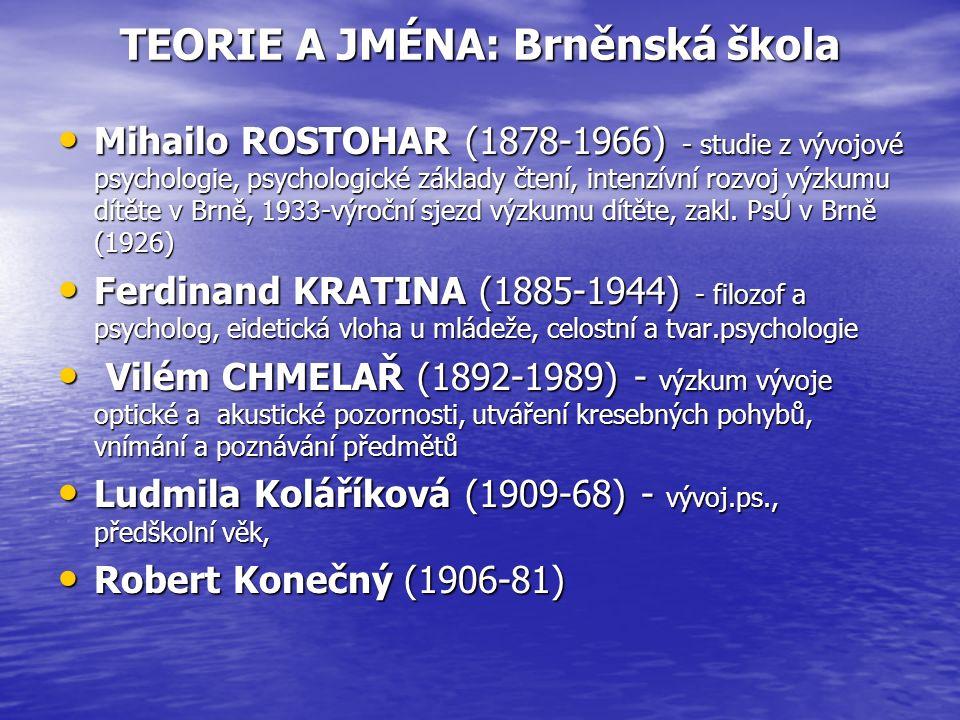 TEORIE A JMÉNA: Brněnská škola Mihailo ROSTOHAR (1878-1966) - studie z vývojové psychologie, psychologické základy čtení, intenzívní rozvoj výzkumu dítěte v Brně, 1933-výroční sjezd výzkumu dítěte, zakl.