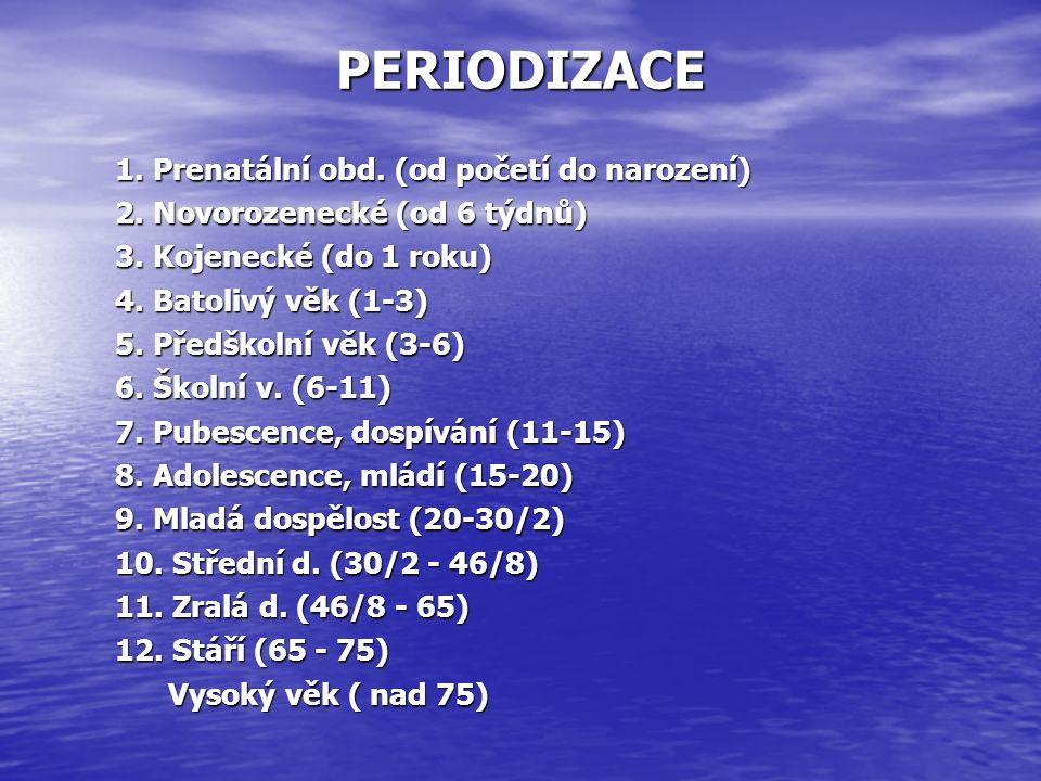 PERIODIZACE 1. Prenatální obd. (od početí do narození) 2.