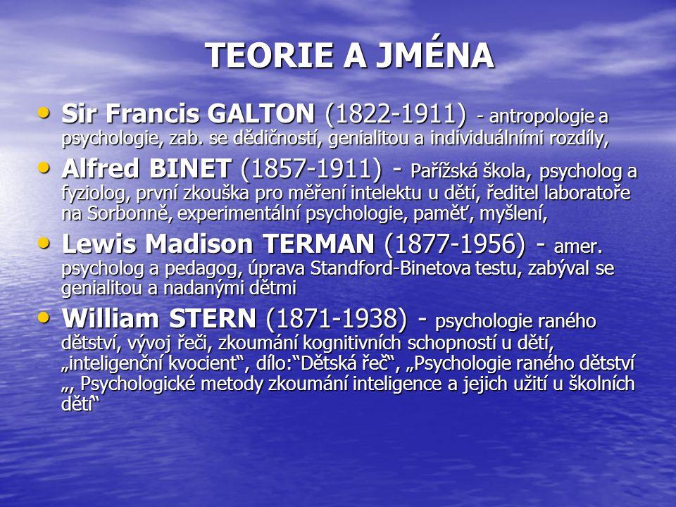 TEORIE A JMÉNA Sir Francis GALTON (1822-1911) - antropologie a psychologie, zab.