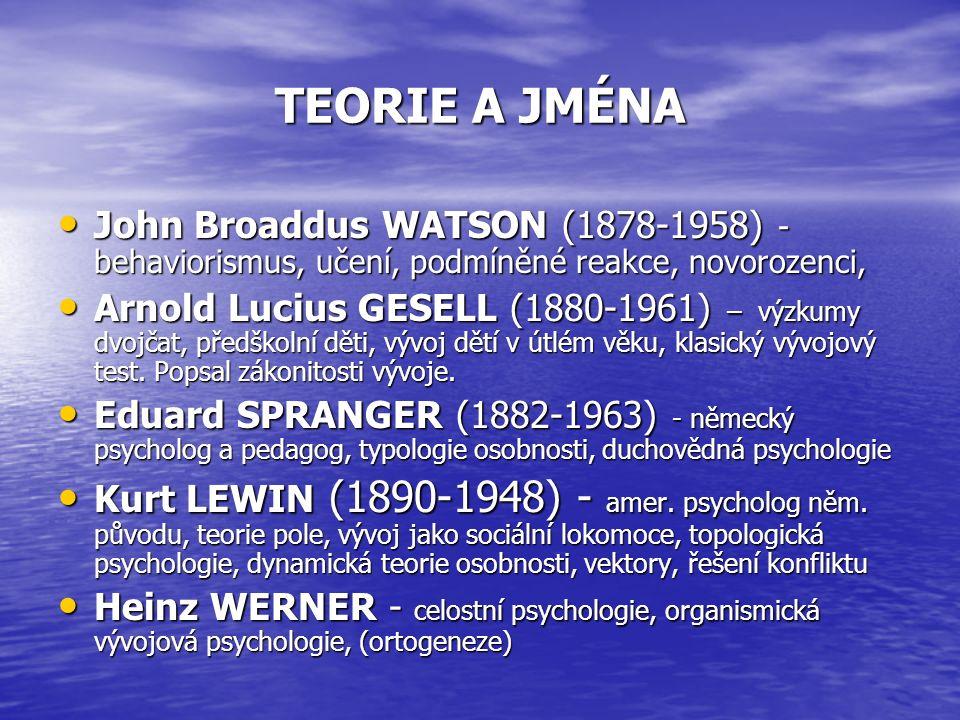 TEORIE A JMÉNA John Broaddus WATSON (1878-1958) - behaviorismus, učení, podmíněné reakce, novorozenci, John Broaddus WATSON (1878-1958) - behaviorismus, učení, podmíněné reakce, novorozenci, Arnold Lucius GESELL (1880-1961) – výzkumy dvojčat, předškolní děti, vývoj dětí v útlém věku, klasický vývojový test.