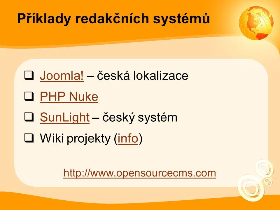 Příklady redakčních systémů  Joomla. – česká lokalizace Joomla.