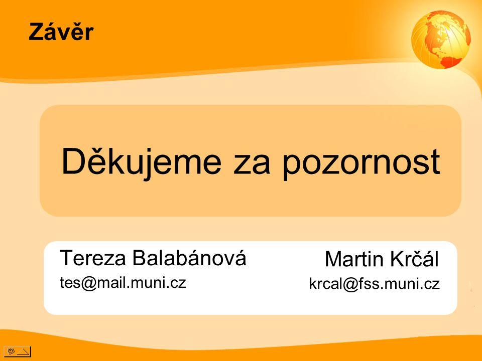 Závěr Tereza Balabánová tes@mail.muni.cz Děkujeme za pozornost Martin Krčál krcal@fss.muni.cz
