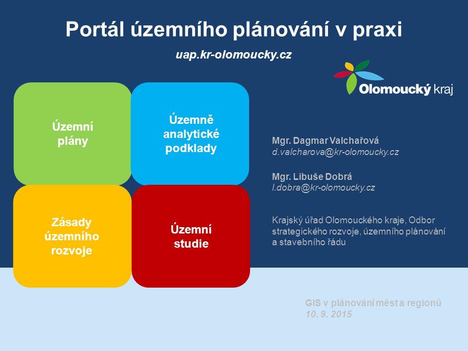 Portál územního plánování v praxi Územní plány Územně analytické podklady Zásady územního rozvoje Územní studie uap.kr-olomoucky.cz Mgr.