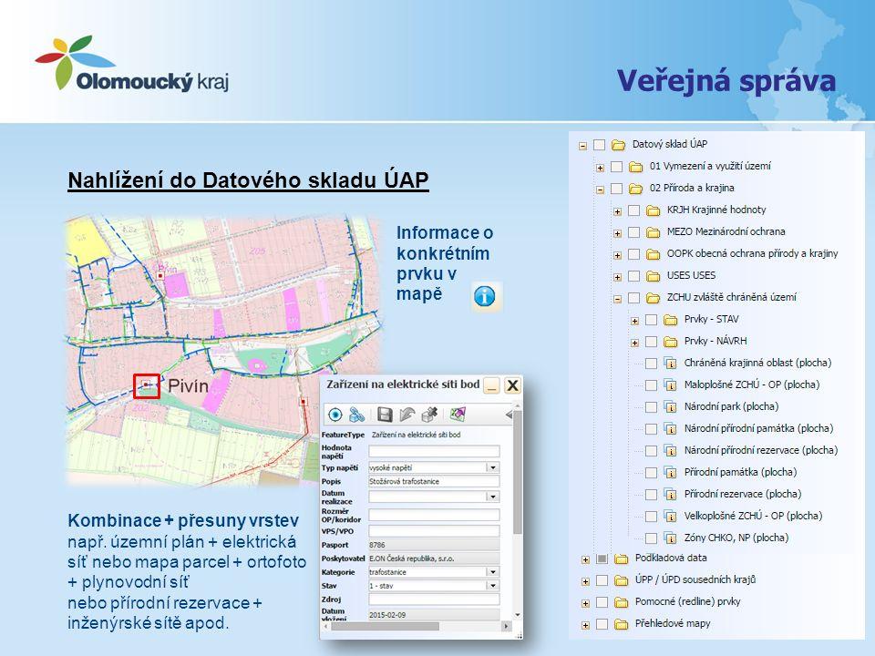 Nahlížení do Datového skladu ÚAP Kombinace + přesuny vrstev např. územní plán + elektrická síť nebo mapa parcel + ortofoto + plynovodní síť nebo příro