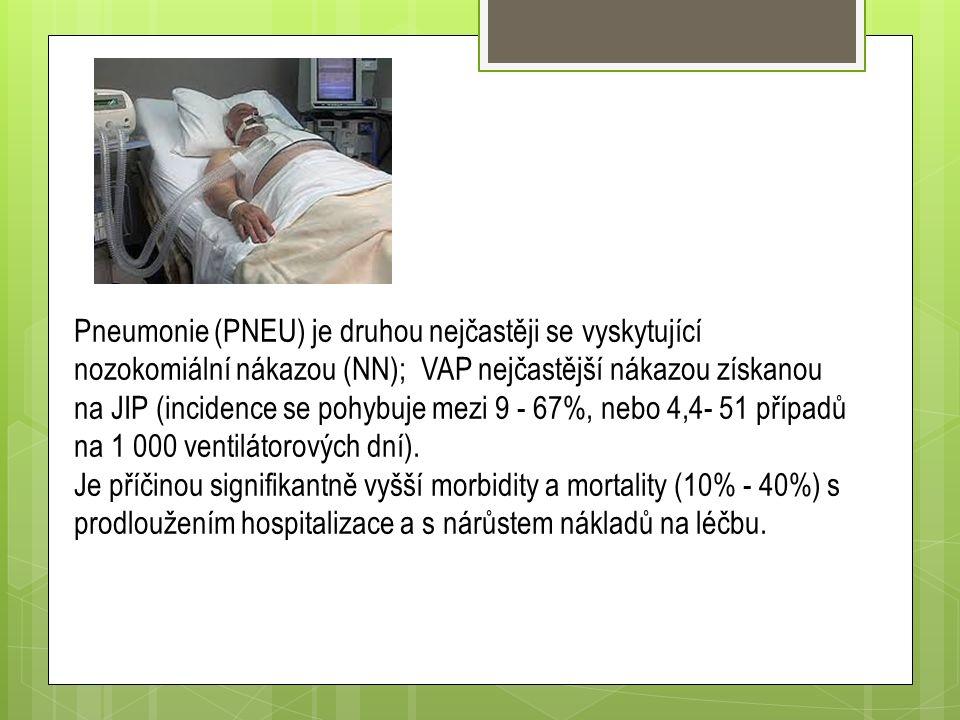 Pneumonie (PNEU) je druhou nejčastěji se vyskytující nozokomiální nákazou (NN); VAP nejčastější nákazou získanou na JIP (incidence se pohybuje mezi 9