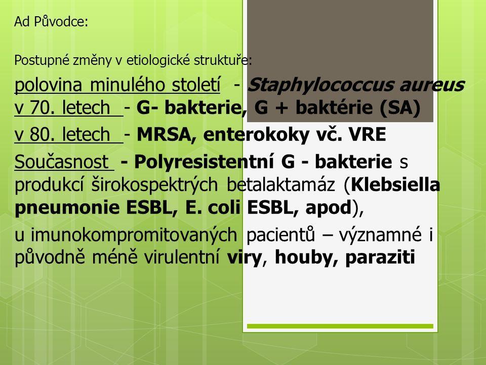Ad Původce: Postupné změny v etiologické struktuře: polovina minulého století - Staphylococcus aureus v 70. letech - G- bakterie, G + baktérie (SA) v