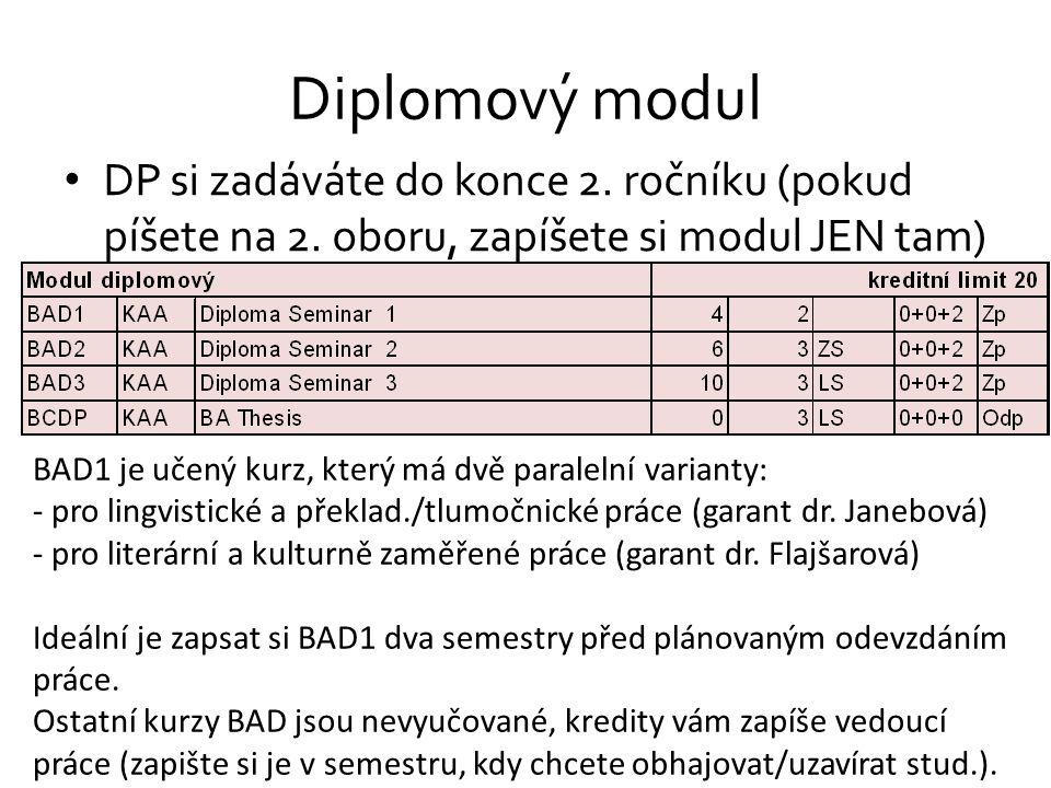 Diplomový modul DP si zadáváte do konce 2. ročníku (pokud píšete na 2. oboru, zapíšete si modul JEN tam) BAD1 je učený kurz, který má dvě paralelní va