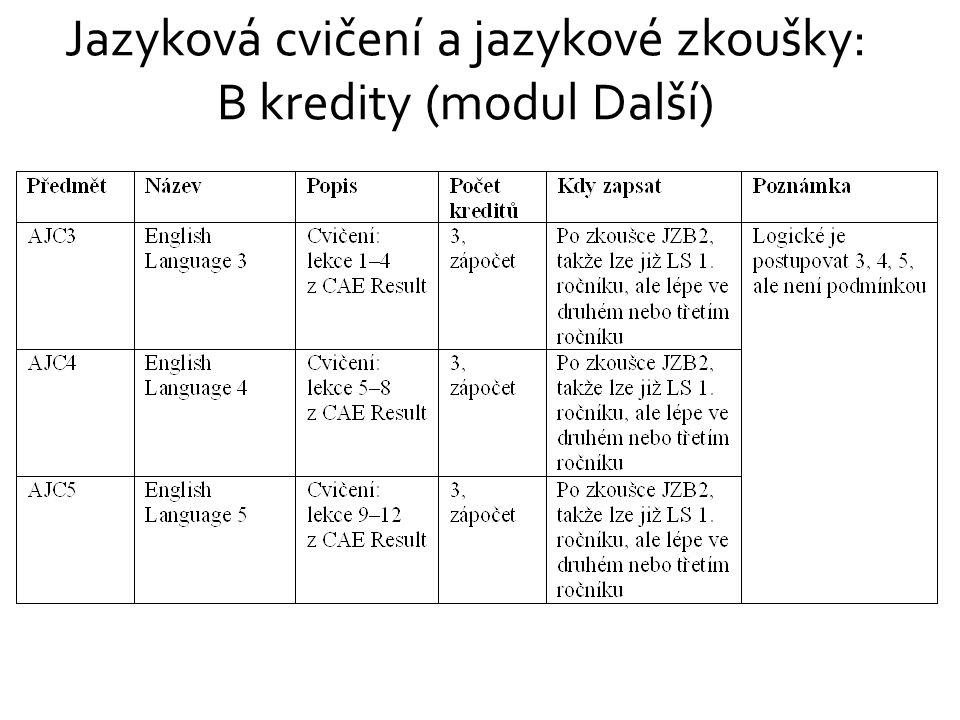 Jazyková cvičení a jazykové zkoušky: B kredity (modul Další)