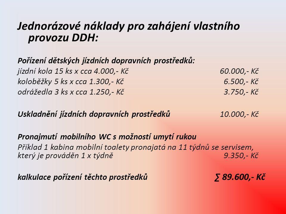 Jednorázové náklady pro zahájení vlastního provozu DDH: Pořízení dětských jízdních dopravních prostředků: jízdní kola 15 ks x cca 4.000,- Kč 60.000,-
