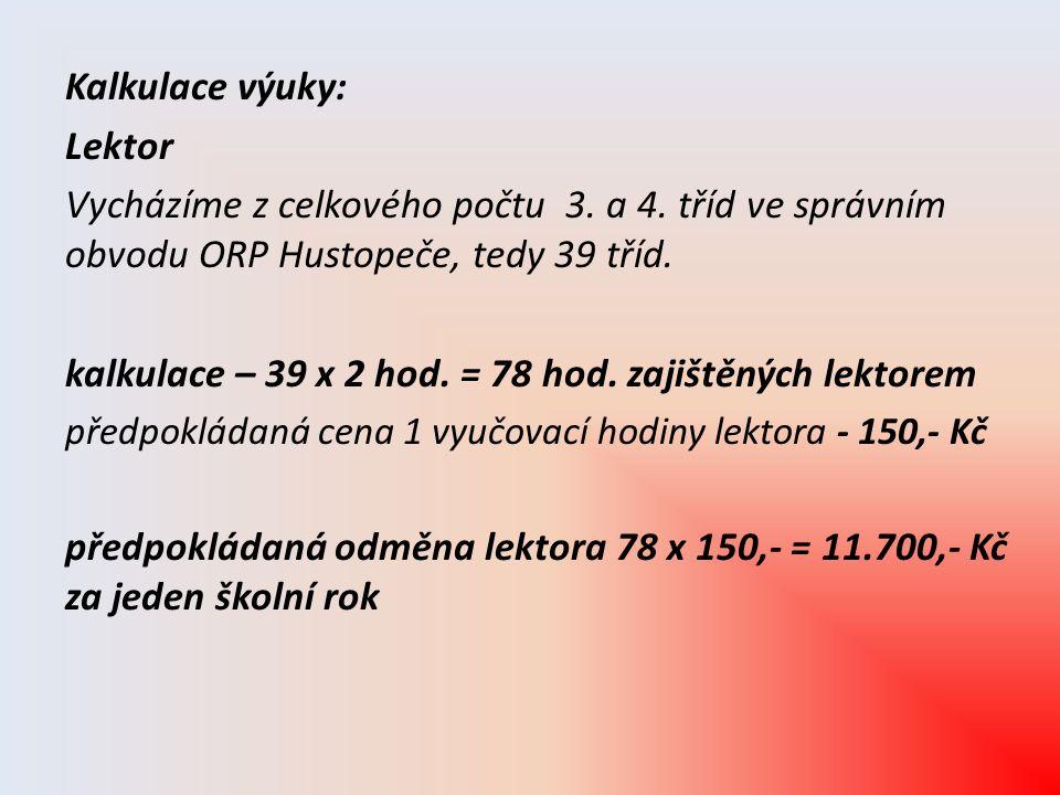 Kalkulace výuky: Lektor Vycházíme z celkového počtu 3. a 4. tříd ve správním obvodu ORP Hustopeče, tedy 39 tříd. kalkulace – 39 x 2 hod. = 78 hod. zaj