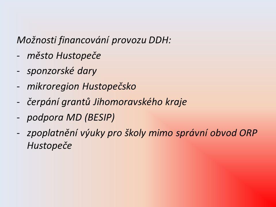 Možnosti financování provozu DDH: -město Hustopeče -sponzorské dary -mikroregion Hustopečsko -čerpání grantů Jihomoravského kraje -podpora MD (BESIP)