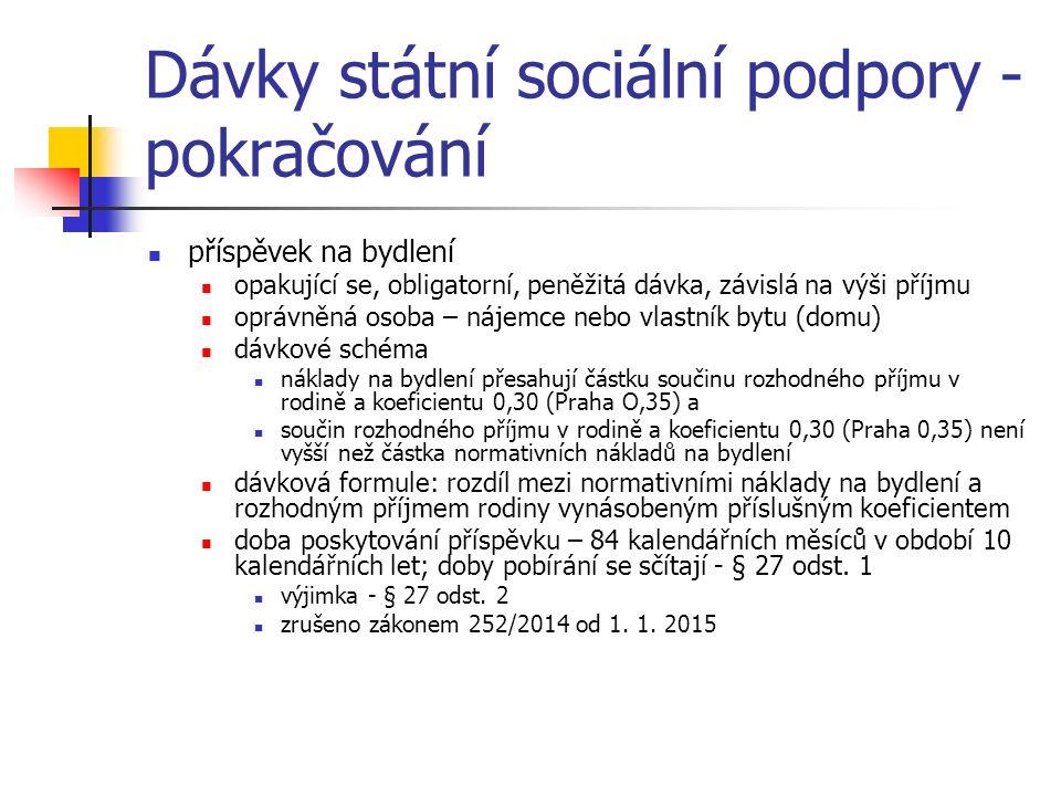 Dávky státní sociální podpory - pokračování příspěvek na bydlení opakující se, obligatorní, peněžitá dávka, závislá na výši příjmu oprávněná osoba – n