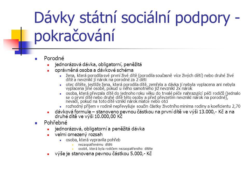Dávky státní sociální podpory - pokračování Porodné jednorázová dávka, obligatorní, peněžitá oprávněná osoba a dávkové schéma žena, která porodila své