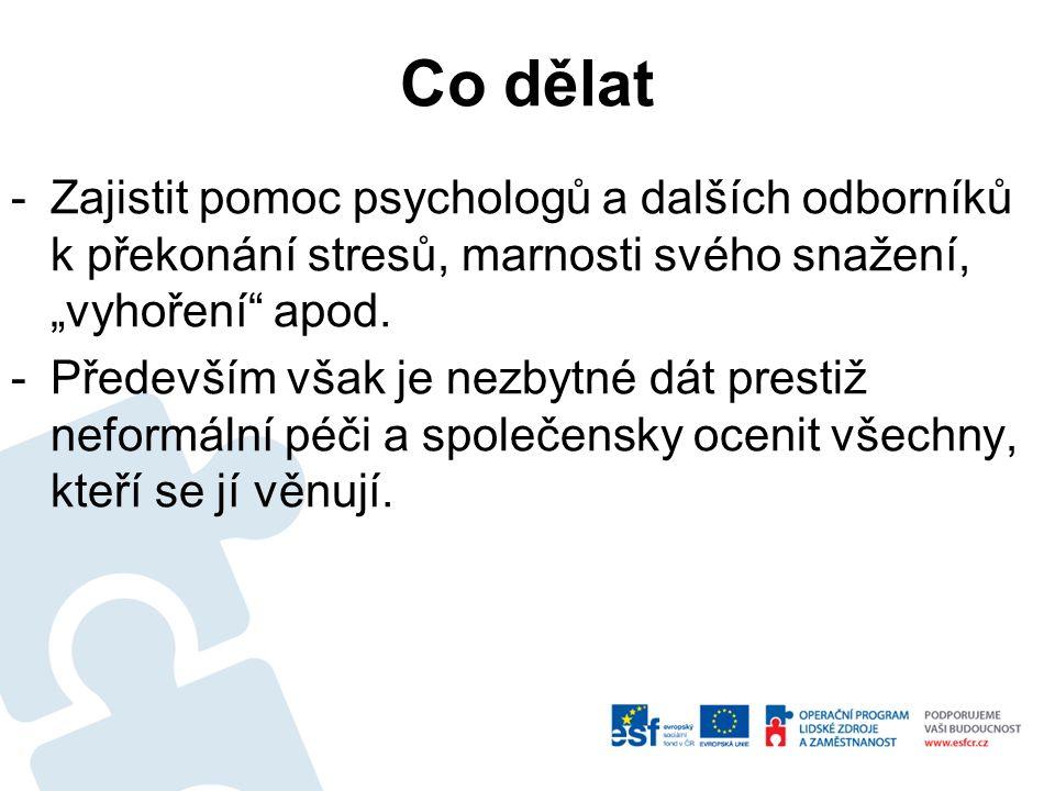 """Co dělat -Zajistit pomoc psychologů a dalších odborníků k překonání stresů, marnosti svého snažení, """"vyhoření"""" apod. -Především však je nezbytné dát p"""