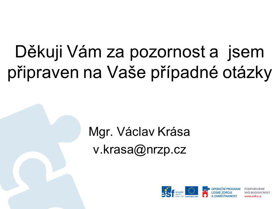 Děkuji Vám za pozornost a jsem připraven na Vaše případné otázky Mgr. Václav Krása v.krasa@nrzp.cz