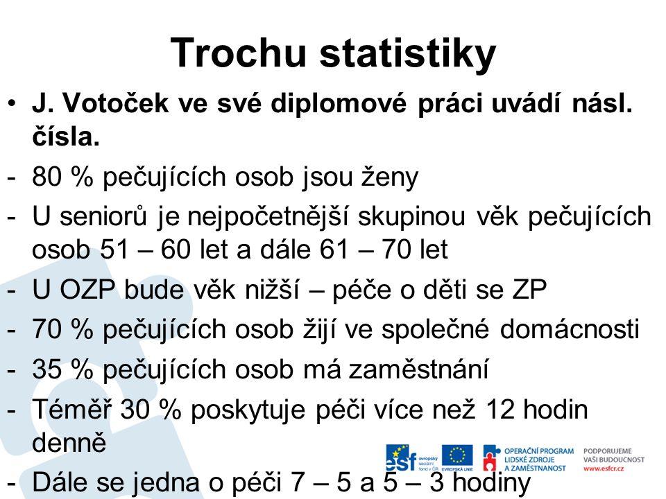 Trochu statistiky J. Votoček ve své diplomové práci uvádí násl. čísla. -80 % pečujících osob jsou ženy -U seniorů je nejpočetnější skupinou věk pečují