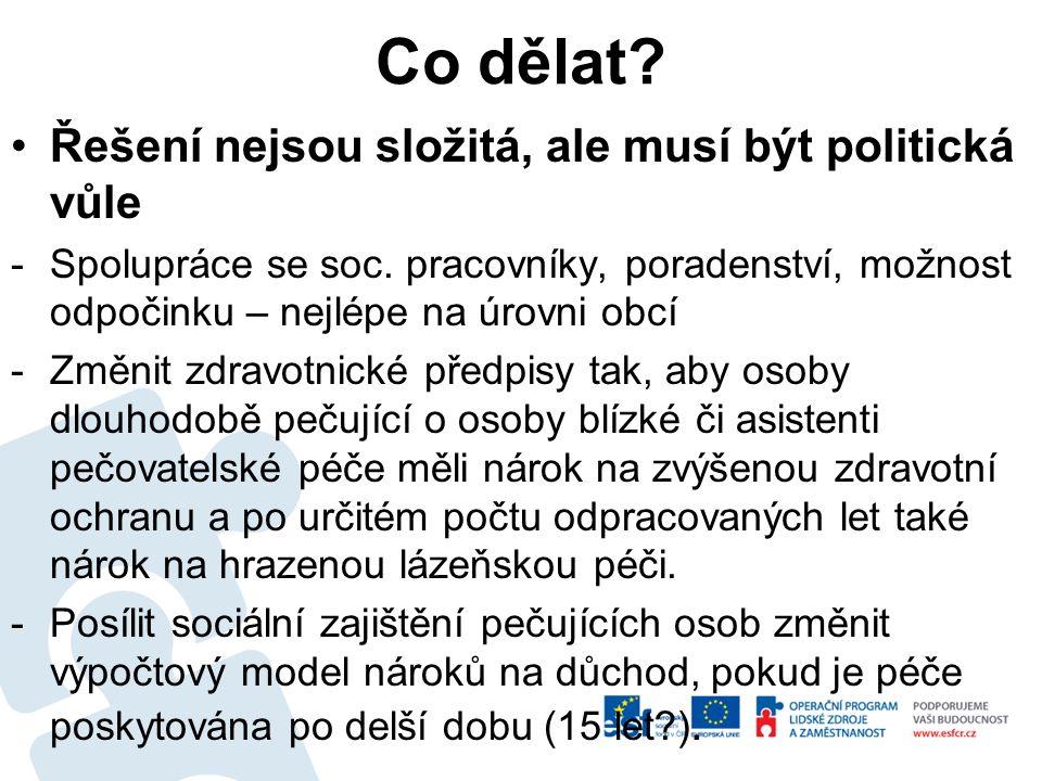 Co dělat? Řešení nejsou složitá, ale musí být politická vůle -Spolupráce se soc. pracovníky, poradenství, možnost odpočinku – nejlépe na úrovni obcí -